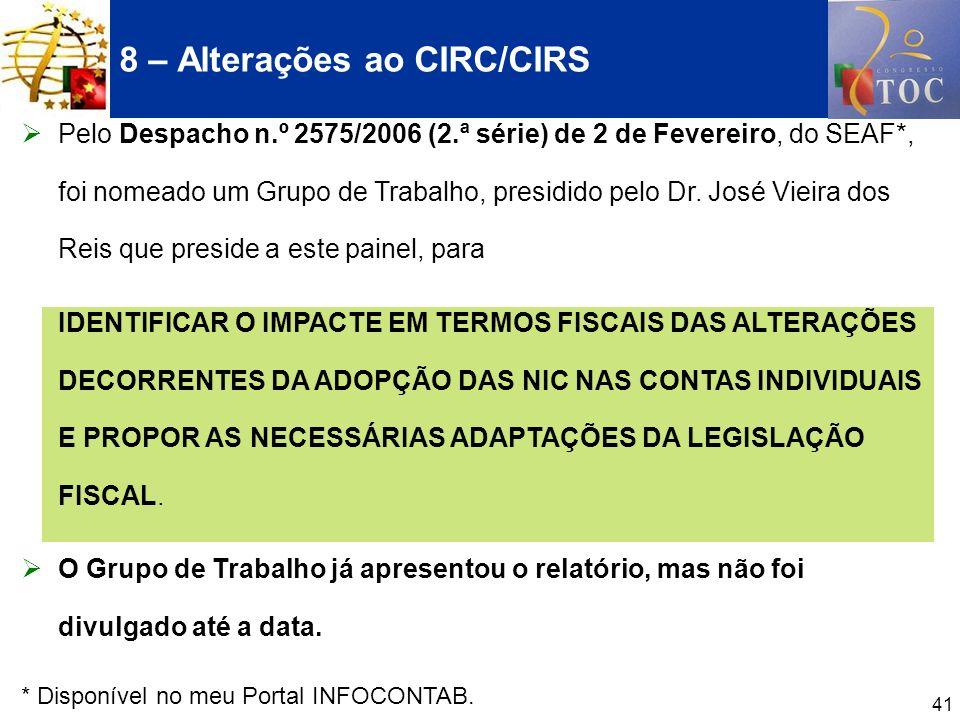 8 – Alterações ao CIRC/CIRS