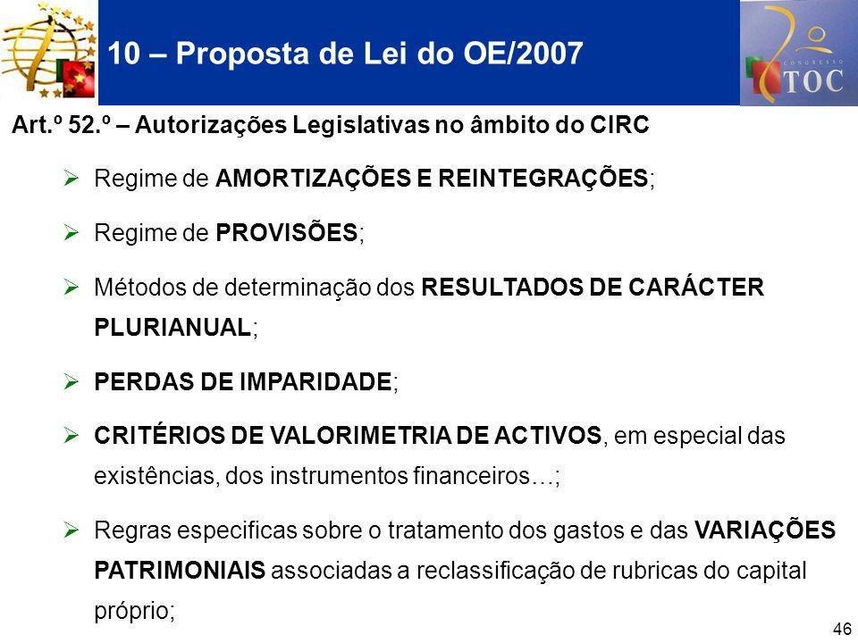 10 – Proposta de Lei do OE/2007 Art.º 52.º – Autorizações Legislativas no âmbito do CIRC. Regime de AMORTIZAÇÕES E REINTEGRAÇÕES;