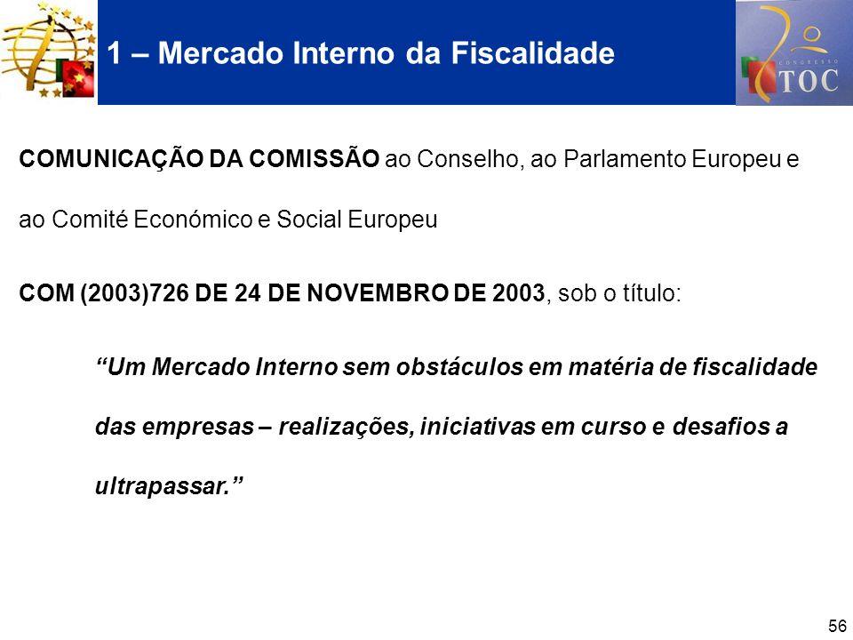 1 – Mercado Interno da Fiscalidade