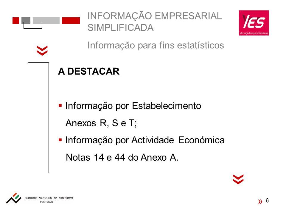 INFORMAÇÃO EMPRESARIAL SIMPLIFICADA Informação para fins estatísticos