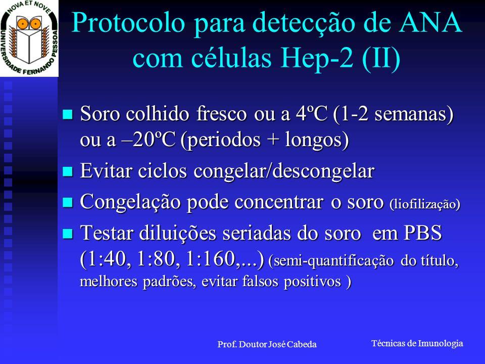 Protocolo para detecção de ANA com células Hep-2 (II)