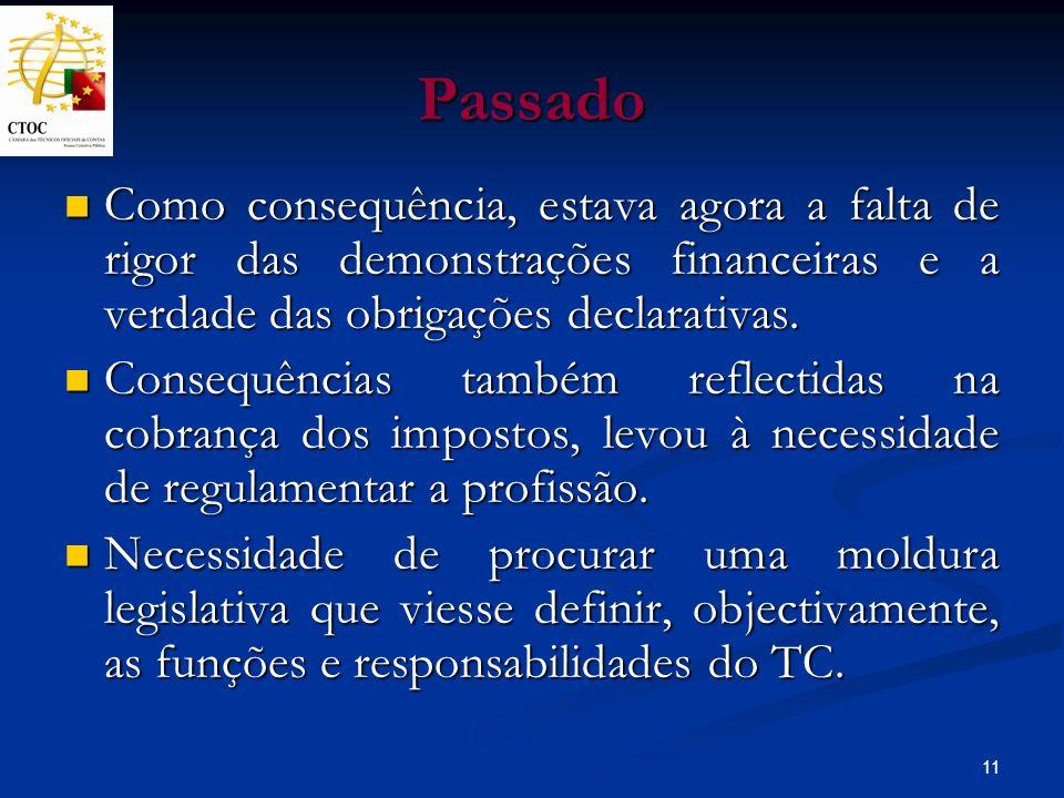 PassadoComo consequência, estava agora a falta de rigor das demonstrações financeiras e a verdade das obrigações declarativas.