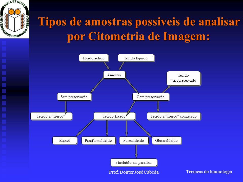 Tipos de amostras possiveis de analisar por Citometria de Imagem:
