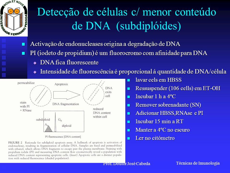 Detecção de células c/ menor conteúdo de DNA (subdiplóides)