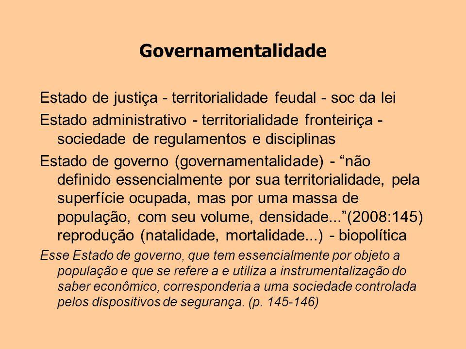 GovernamentalidadeEstado de justiça - territorialidade feudal - soc da lei.