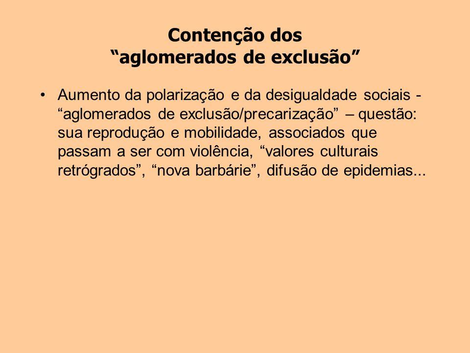 Contenção dos aglomerados de exclusão