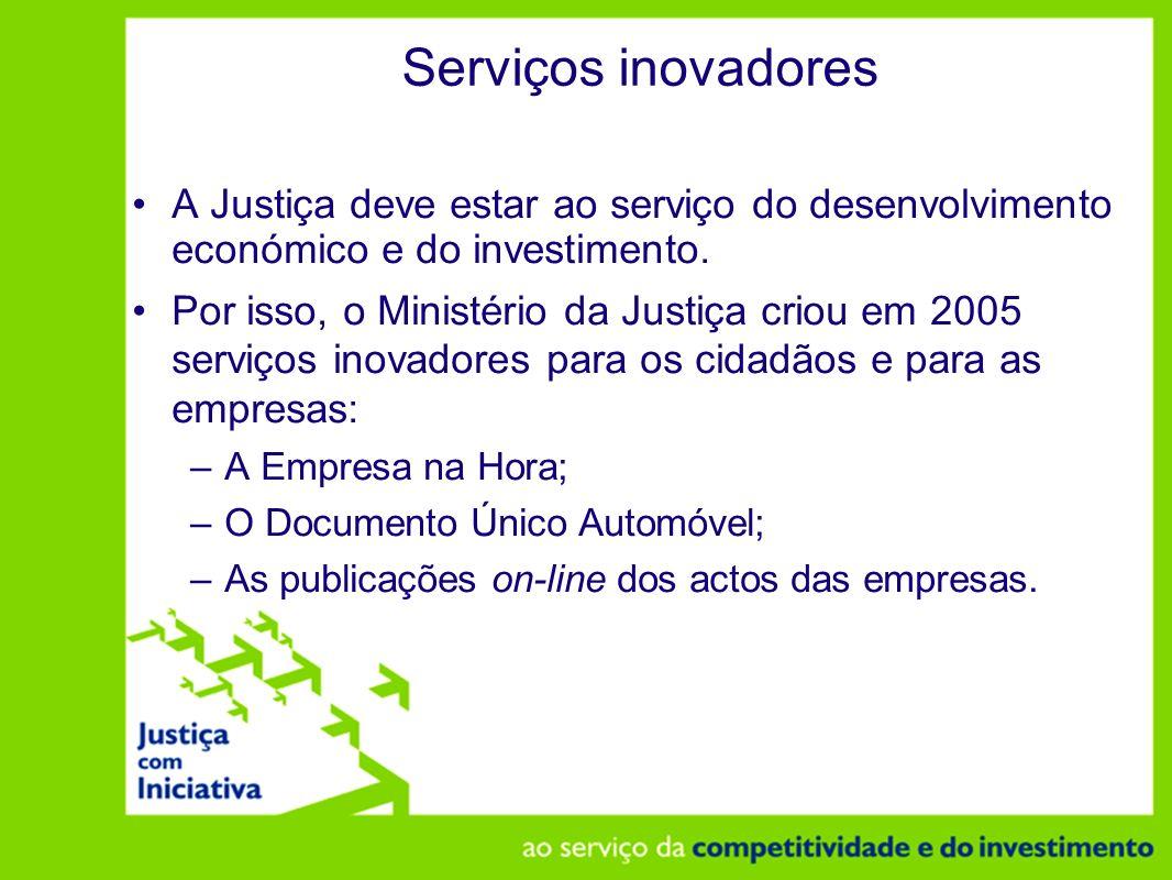 Serviços inovadores A Justiça deve estar ao serviço do desenvolvimento económico e do investimento.