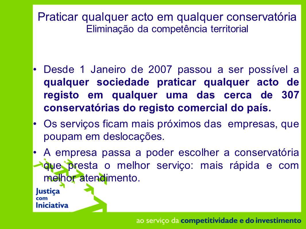 Praticar qualquer acto em qualquer conservatória Eliminação da competência territorial
