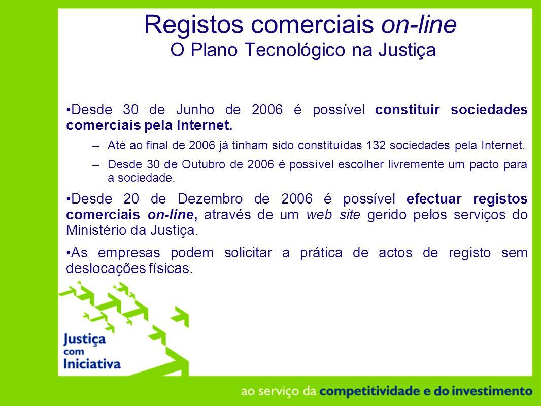 Registos comerciais on-line O Plano Tecnológico na Justiça