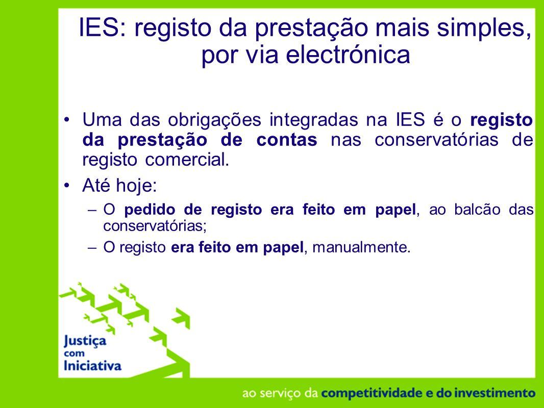 IES: registo da prestação mais simples, por via electrónica