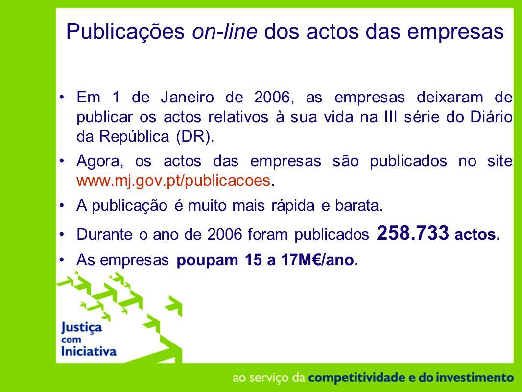Publicações on-line dos actos das empresas