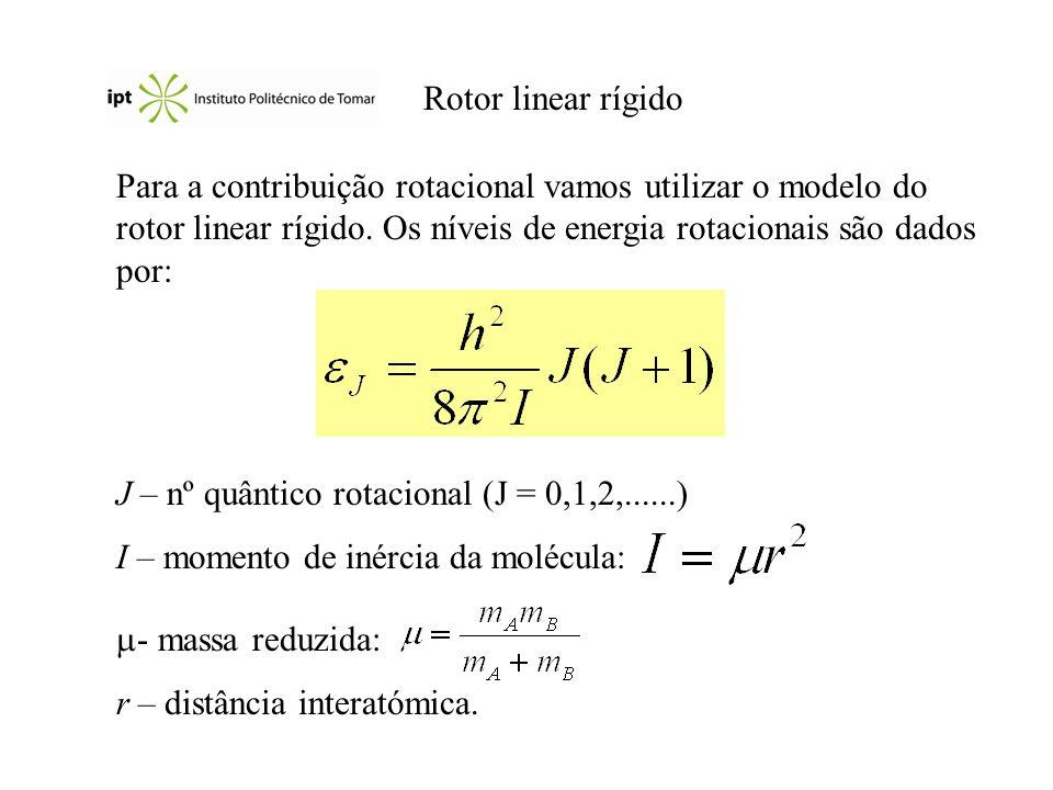Rotor linear rígido Para a contribuição rotacional vamos utilizar o modelo do rotor linear rígido. Os níveis de energia rotacionais são dados por: