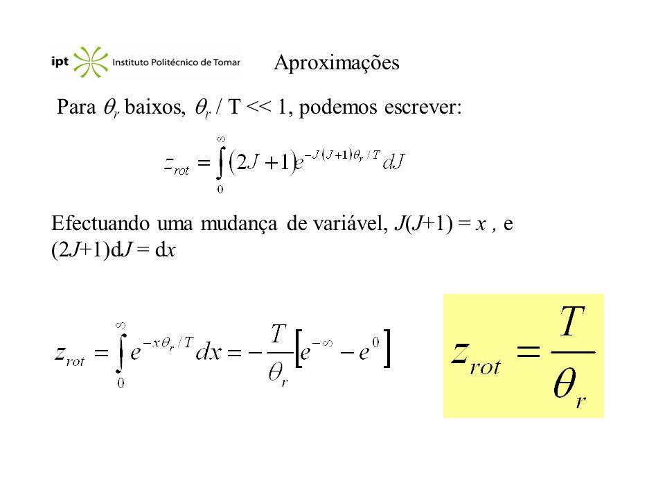 Aproximações Para r baixos, r / T << 1, podemos escrever: Efectuando uma mudança de variável, J(J+1) = x , e (2J+1)dJ = dx.