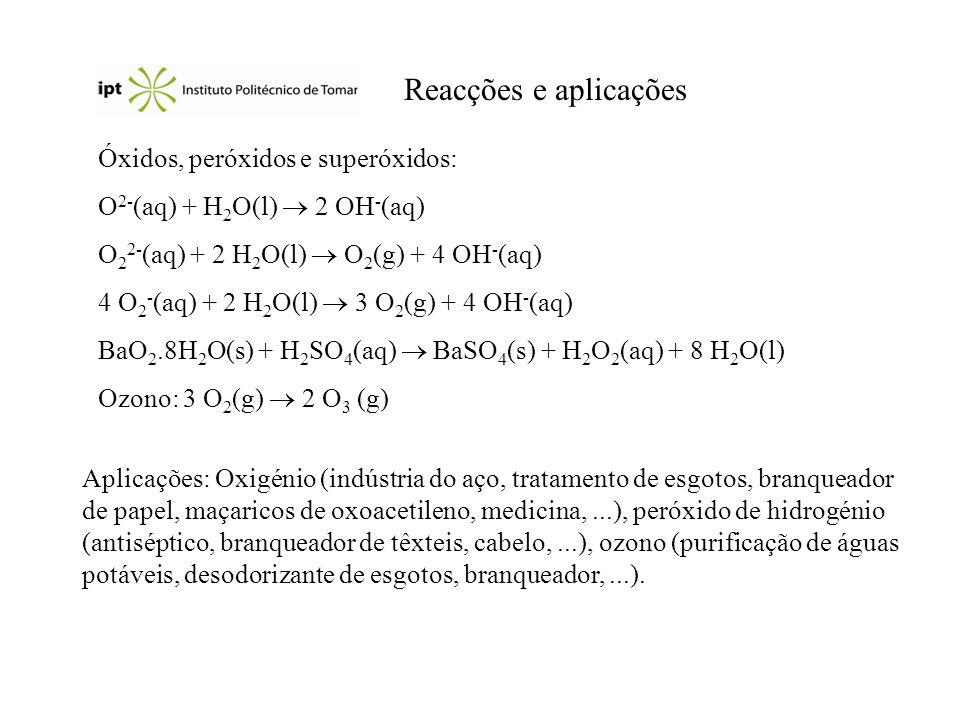 Reacções e aplicações Óxidos, peróxidos e superóxidos: