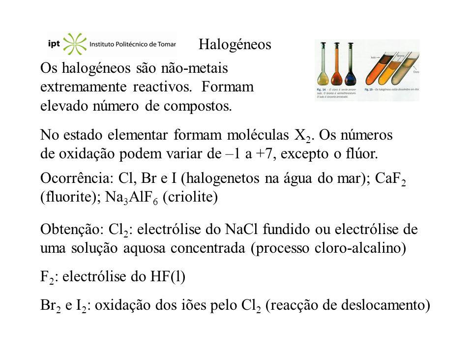 Halogéneos Os halogéneos são não-metais extremamente reactivos. Formam elevado número de compostos.