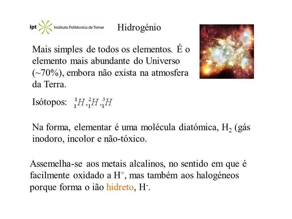 HidrogénioMais simples de todos os elementos. É o elemento mais abundante do Universo (~70%), embora não exista na atmosfera da Terra.