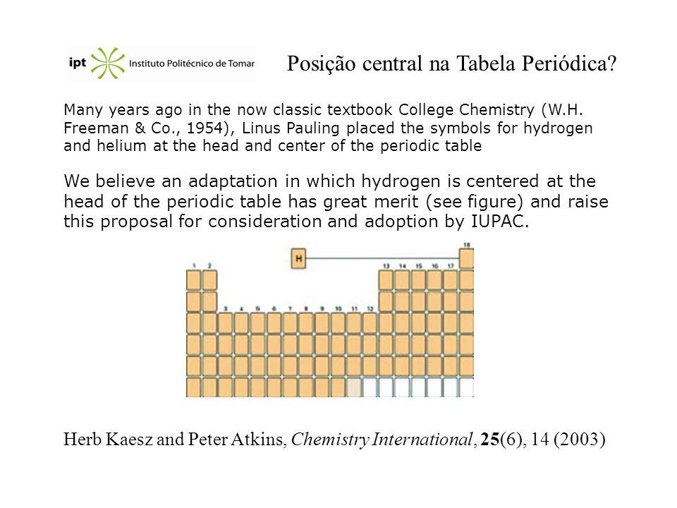 Posição central na Tabela Periódica