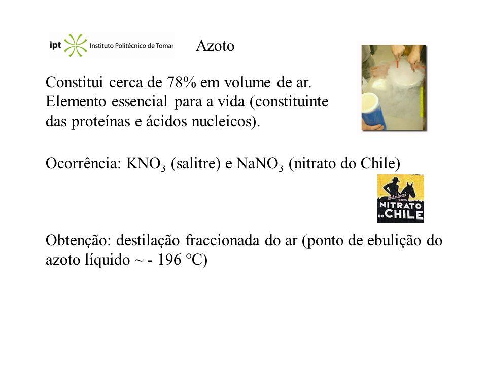 Azoto Constitui cerca de 78% em volume de ar. Elemento essencial para a vida (constituinte das proteínas e ácidos nucleicos).