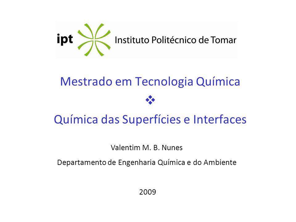 Mestrado em Tecnologia Química  Química das Superfícies e Interfaces