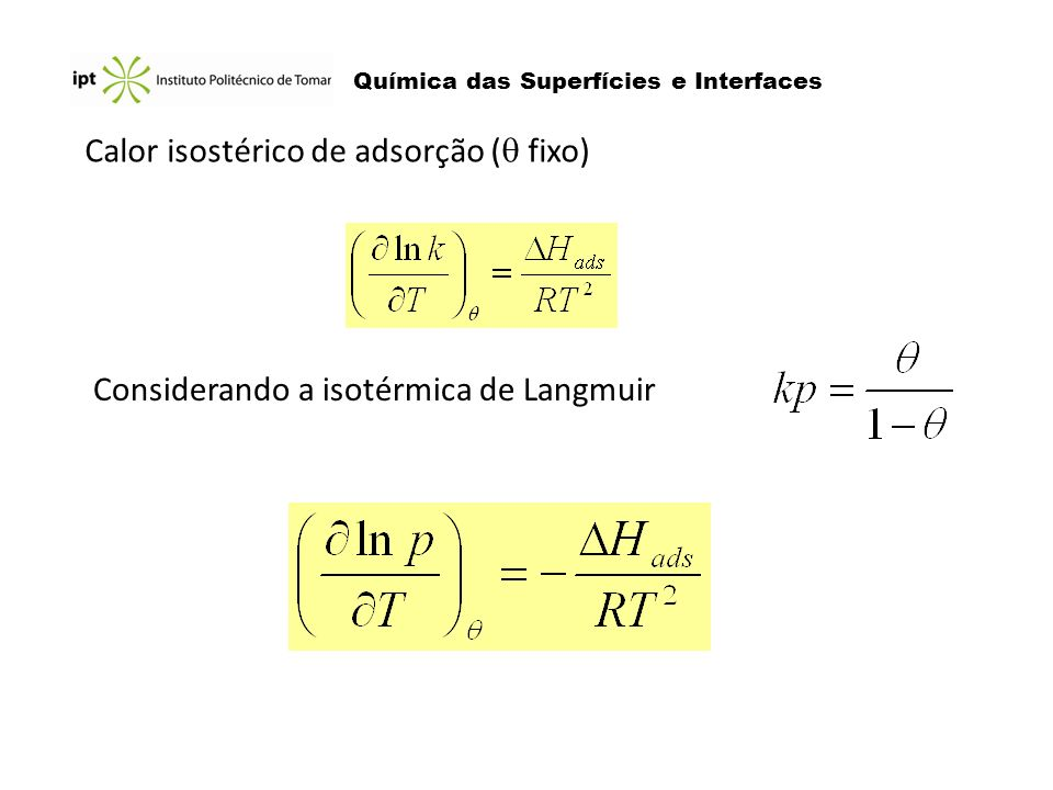 Calor isostérico de adsorção ( fixo)