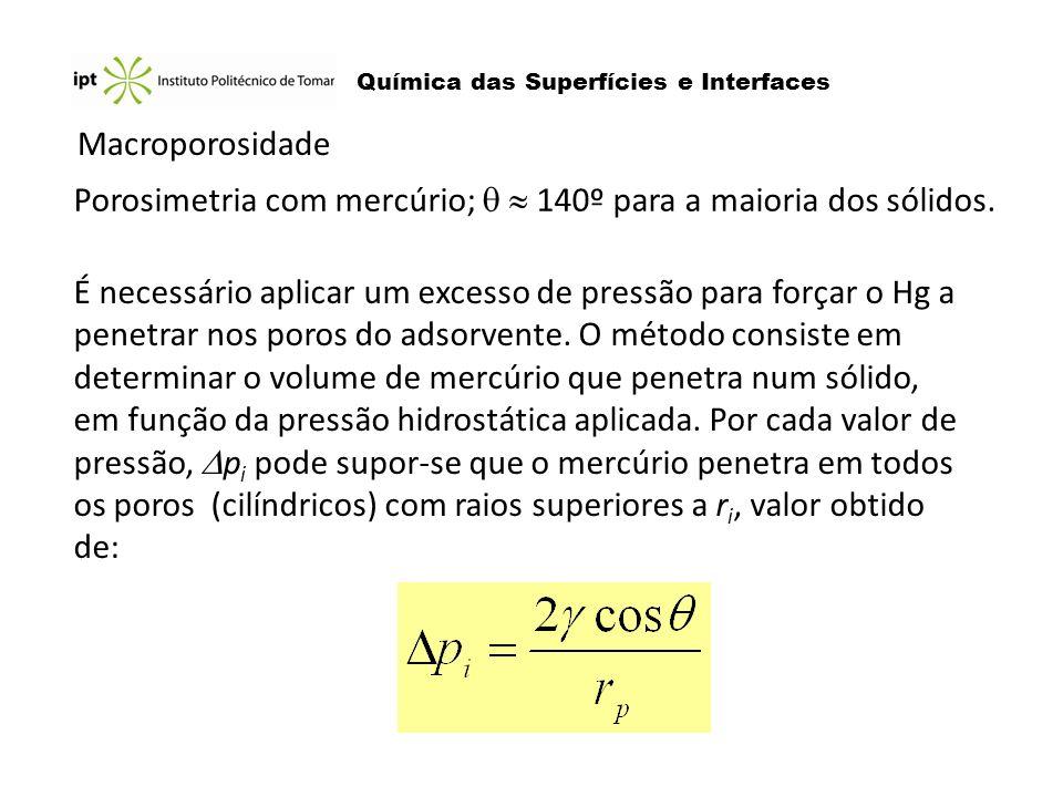 Porosimetria com mercúrio;   140º para a maioria dos sólidos.