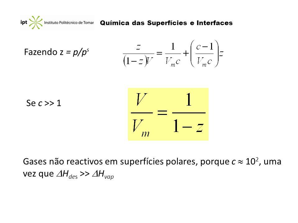 Fazendo z = p/ps Se c >> 1