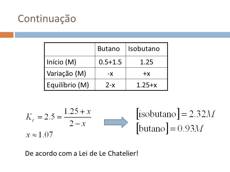 Continuação Butano Isobutano Início (M) 0.5+1.5 1.25 Variação (M) -x