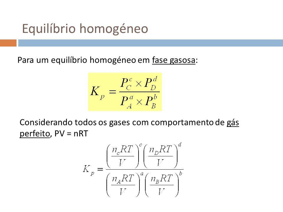 Equilíbrio homogéneo Para um equilíbrio homogéneo em fase gasosa: