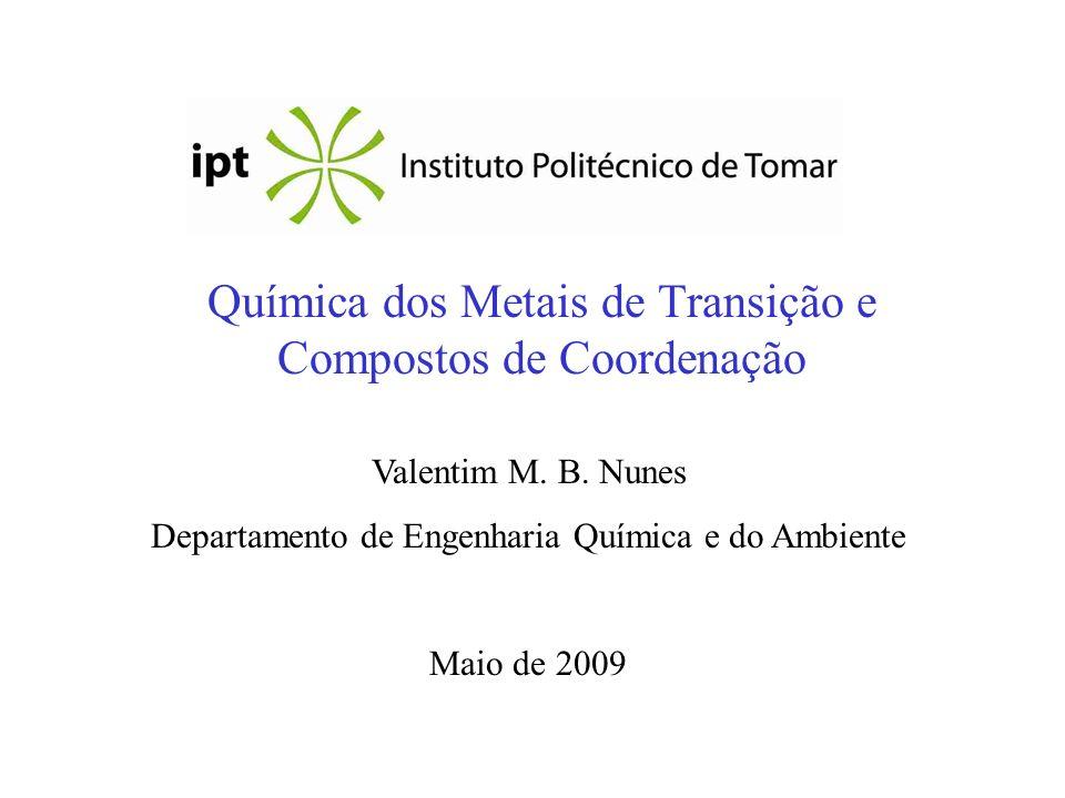 Química dos Metais de Transição e Compostos de Coordenação