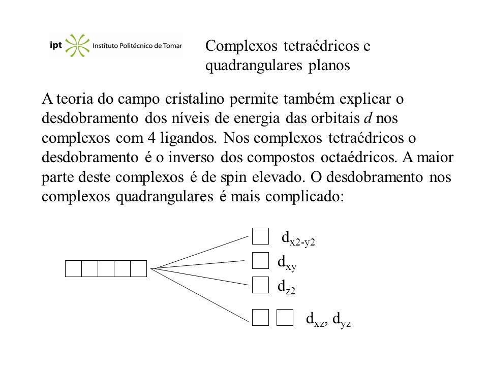 Complexos tetraédricos e quadrangulares planos