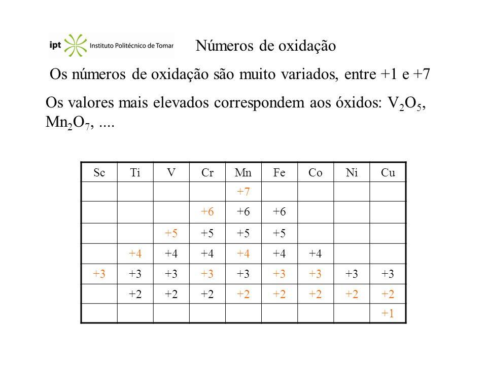 Os números de oxidação são muito variados, entre +1 e +7