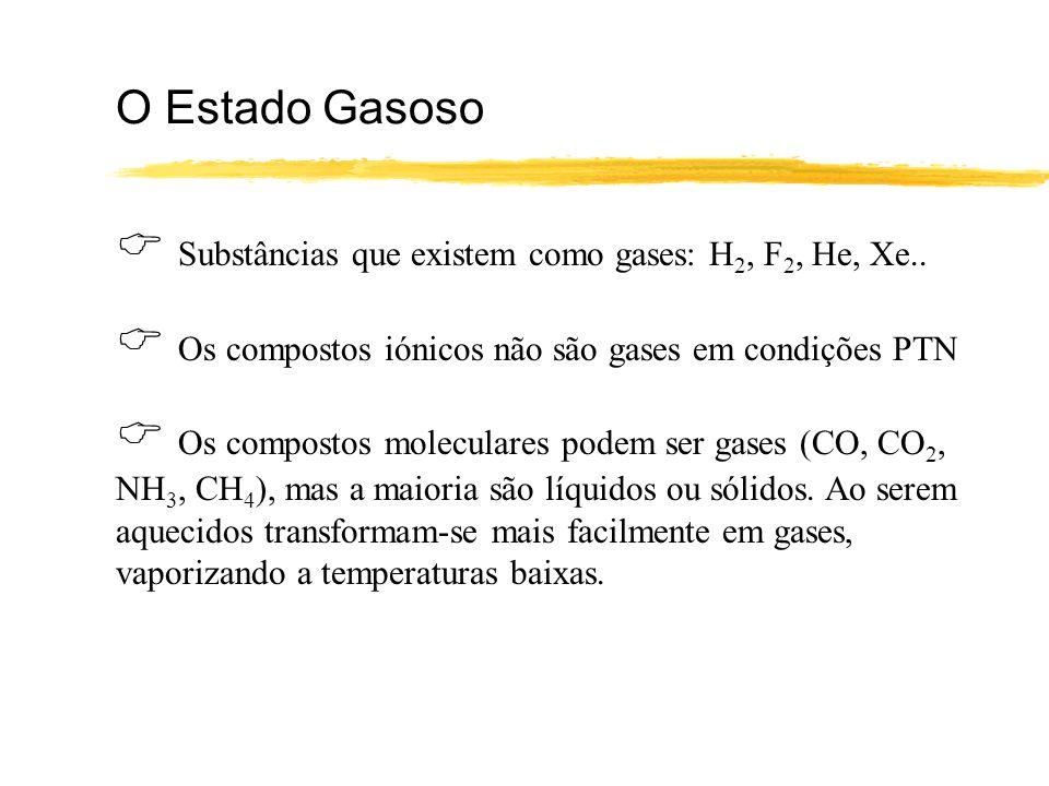  Substâncias que existem como gases: H2, F2, He, Xe..