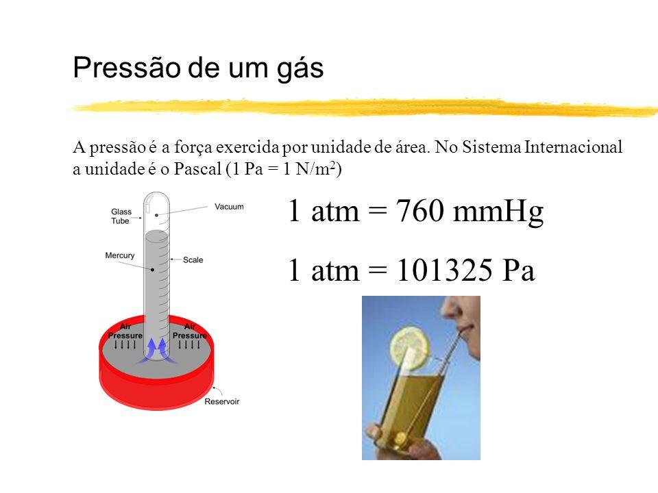 1 atm = 760 mmHg 1 atm = 101325 Pa Pressão de um gás