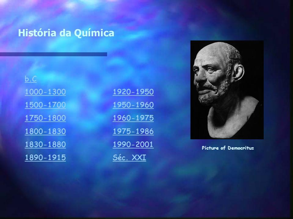 História da Química b.C 1000-1300 1920-1950 1500-1700 1950-1960