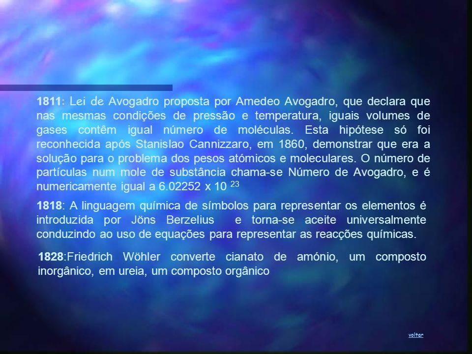 1811: Lei de Avogadro proposta por Amedeo Avogadro, que declara que nas mesmas condições de pressão e temperatura, iguais volumes de gases contêm igual número de moléculas. Esta hipótese só foi reconhecida após Stanislao Cannizzaro, em 1860, demonstrar que era a solução para o problema dos pesos atómicos e moleculares. O número de partículas num mole de substância chama-se Número de Avogadro, e é numericamente igual a 6.02252 x 10 23