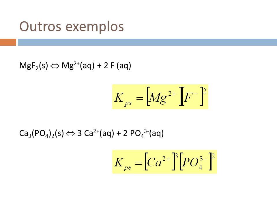 Outros exemplos MgF2(s)  Mg2+(aq) + 2 F-(aq)