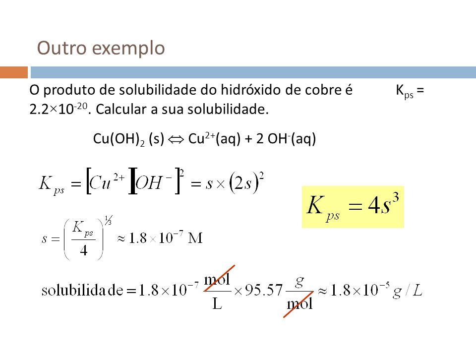 Outro exemplo O produto de solubilidade do hidróxido de cobre é Kps = 2.2×10-20. Calcular a sua solubilidade.