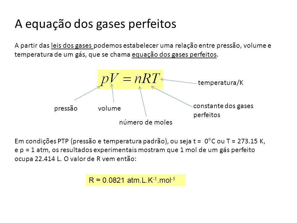 A equação dos gases perfeitos