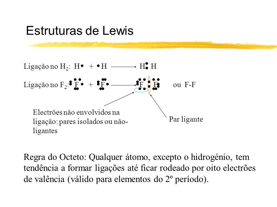 Estruturas de Lewis Ligação no H2: H + H H H. Ligação no F2: F + F F F ou F-F.