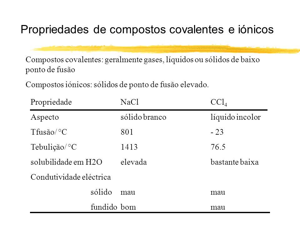 Propriedades de compostos covalentes e iónicos