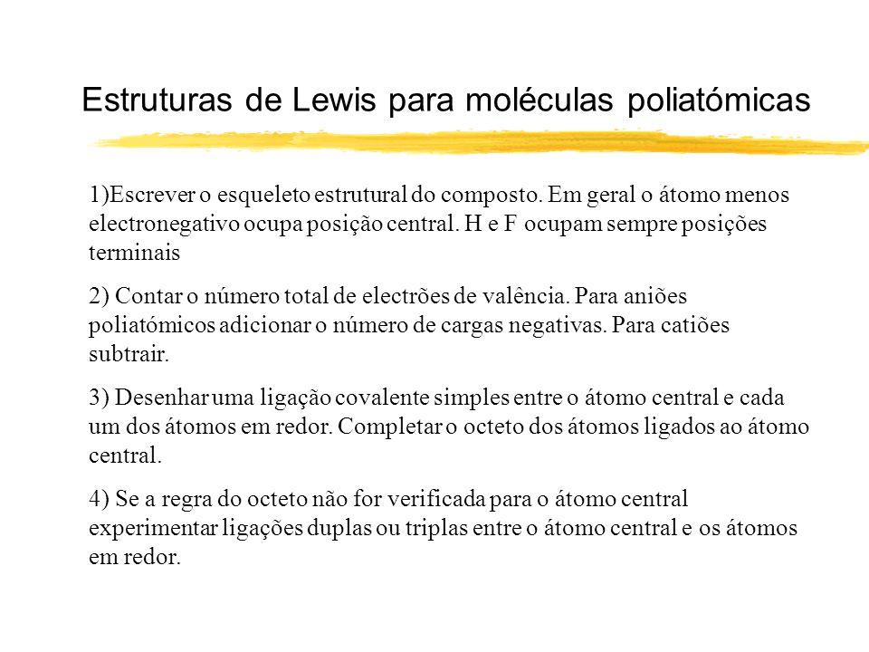 Estruturas de Lewis para moléculas poliatómicas