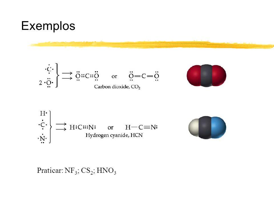 Exemplos Praticar: NF3; CS2; HNO3