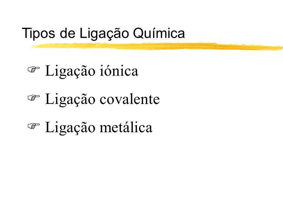  Ligação iónica  Ligação covalente  Ligação metálica