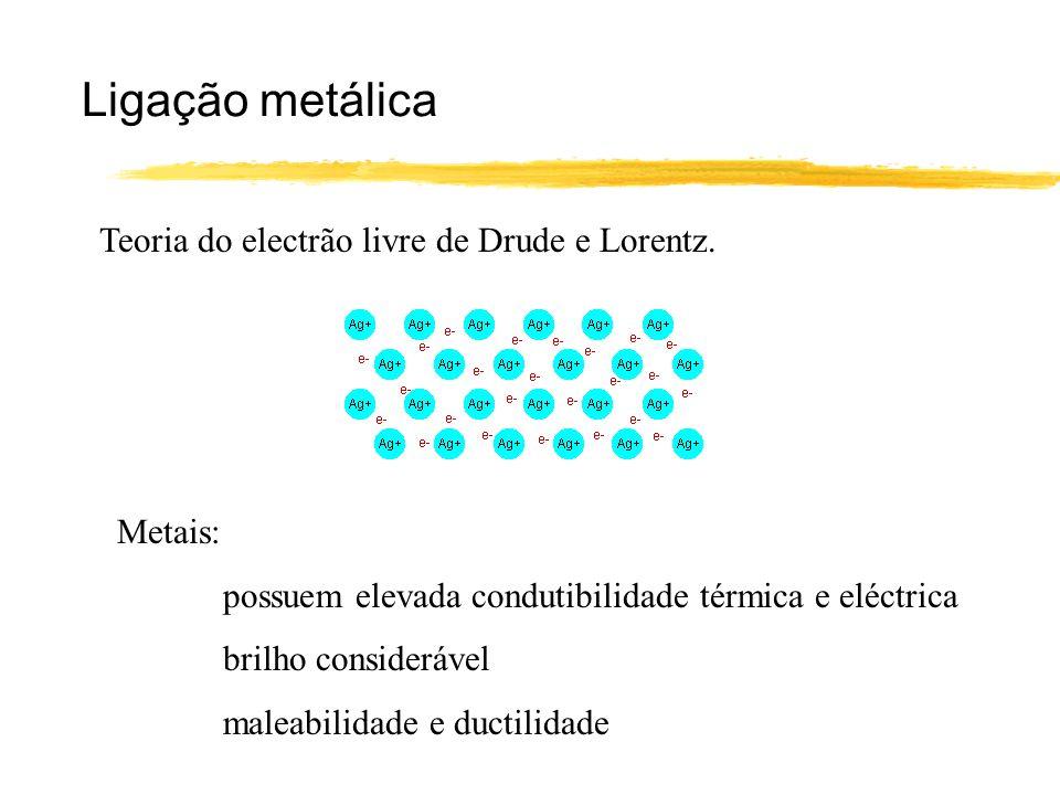 Ligação metálica Teoria do electrão livre de Drude e Lorentz. Metais: