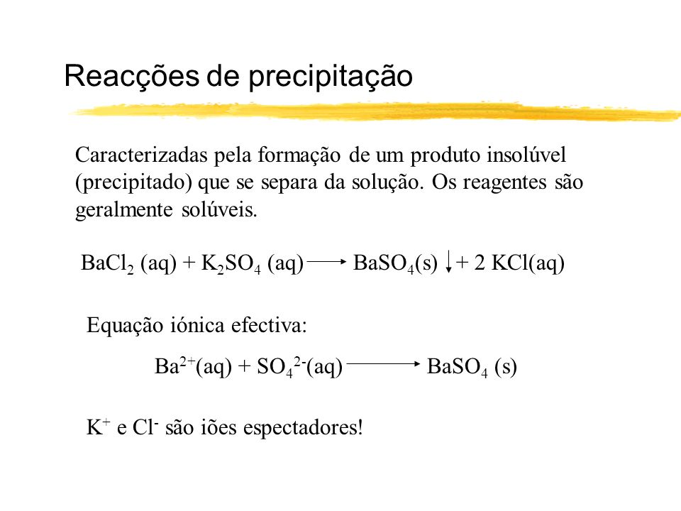 Reacções de precipitação