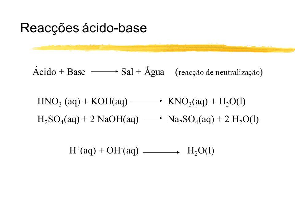 Reacções ácido-base Ácido + Base Sal + Água (reacção de neutralização)