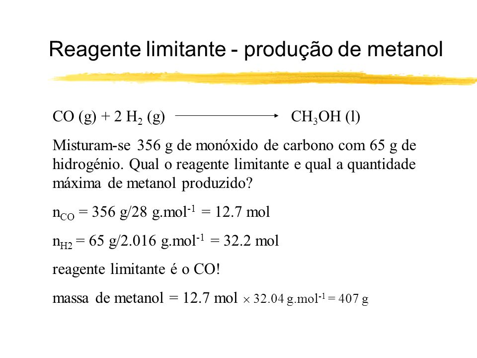 Reagente limitante - produção de metanol