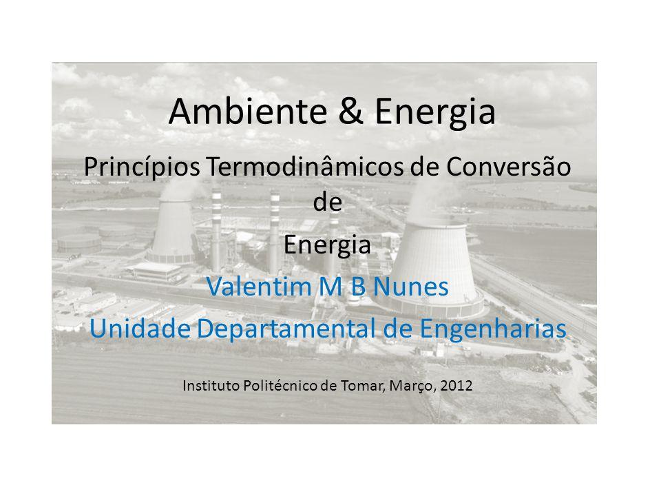 Ambiente & Energia Princípios Termodinâmicos de Conversão de Energia