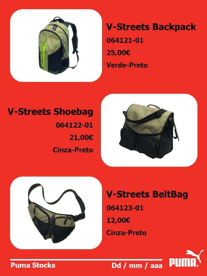 V-Streets Backpack V-Streets Shoebag V-Streets BeltBag 064121-01
