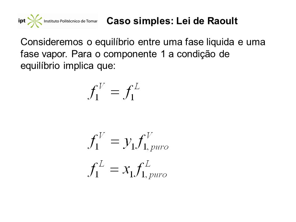 Caso simples: Lei de Raoult